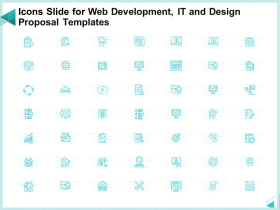 Icons Slide For Web Development IT And Design Proposal Templates Background PDF