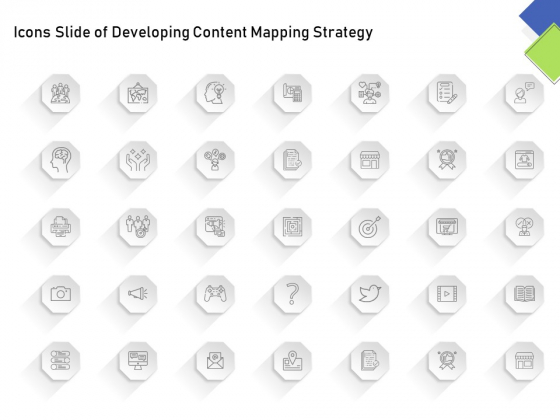 Icons Slide Of Developing Content Mapping Strategy Ppt Infographic Template Clipart PDF