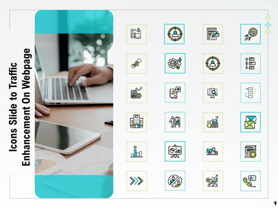 Icons Slide To Traffic Enhancement On Webpage Ppt PowerPoint Presentation Styles Shapes PDF