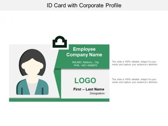 Id Card With Corporate Profile Ppt PowerPoint Presentation Infographic Template Templates