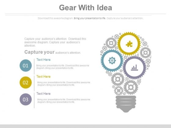 Idea Bulb Design With Gears Powerpoint Slides