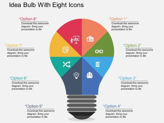 Idea Bulb With Eight Icons Powerpoint Templates