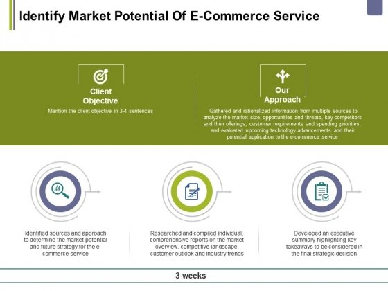 Identify Market Potential Of E Commerce Service Ppt PowerPoint Presentation Layouts Infographics