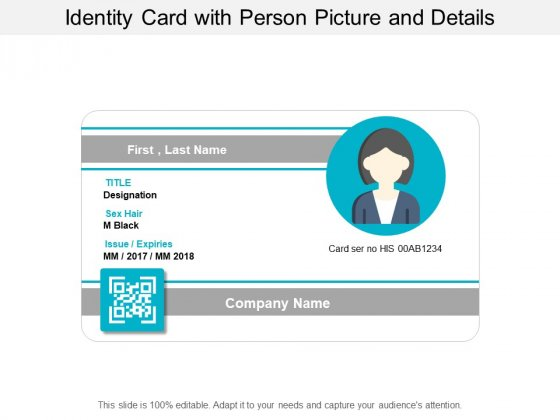 Identity Card With Person Picture And Details Ppt PowerPoint Presentation Slides Aids