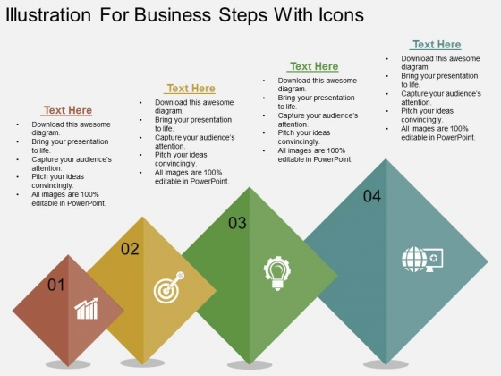 Illustration For Business Steps With Icons Powerpoint Template
