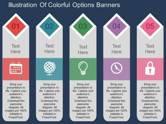 Illustration Of Colorful Options Banners Powerpoint Templates