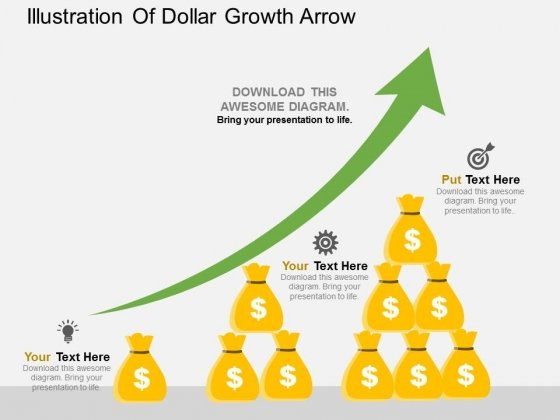 Illustration Of Dollar Growth Arrow Powerpoint Template