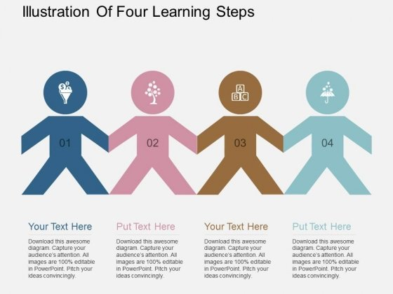 Illustration Of Four Learning Steps Powerpoint Template