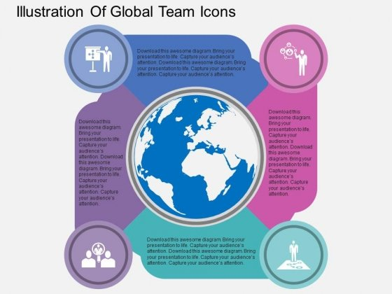 Illustration Of Global Team Icons Powerpoint Templates