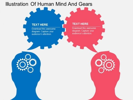 Illustration Of Human Mind And Gears Powerpoint Templates