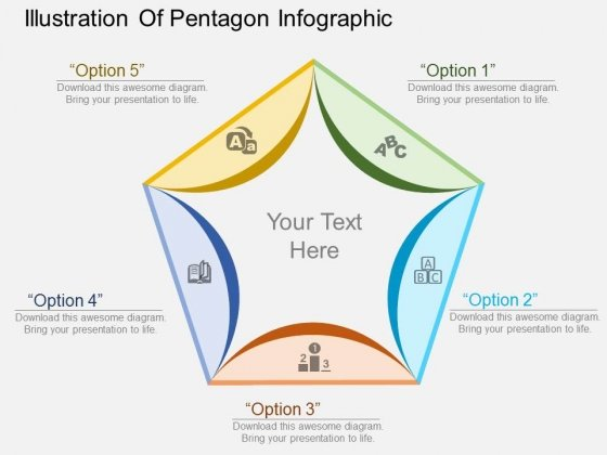 Illustration Of Pentagon Infographic Powerpoint Template