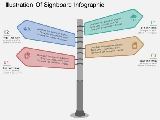 Illustration Of Signboard Infographic Powerpoint Template