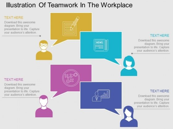 Illustration Of Teamwork In The Workplace Powerpoint Template