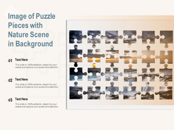 Image Of Puzzle Pieces With Nature Scene In Background Ppt PowerPoint Presentation Icon Graphics