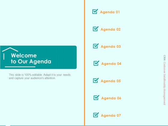 Immovable Property CRM Welcome To Our Agenda Ppt PowerPoint Presentation Styles Examples