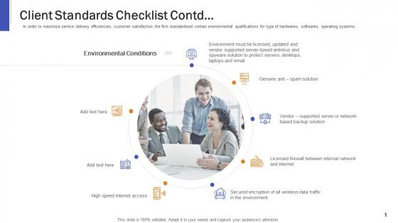 Impeccable Information Technology Facility Client Standards Checklist Contd Clipart PDF