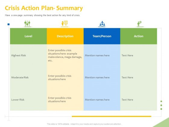 Implementation Of Risk Mitigation Strategies Within A Firm Crisis Action Plan Summary Ppt Outline Infographics PDF
