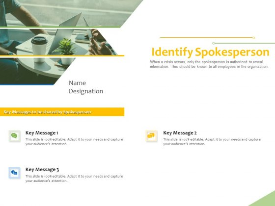 Implementation Of Risk Mitigation Strategies Within A Firm Identify Spokesperson Ppt Styles Graphics Design PDF
