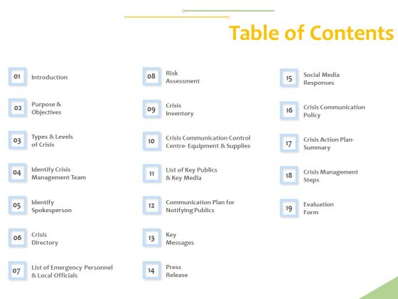 Implementation Of Risk Mitigation Strategies Within A Firm Table Of Contents Ppt Infographics Graphic Tips PDF