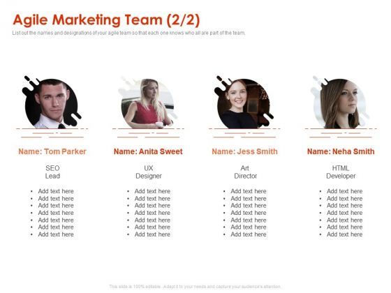 Implementing Agile Marketing In Your Organization Agile Marketing Team Lead Ppt Outline Icons PDF