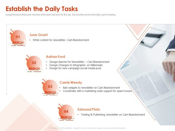 Implementing Agile Marketing In Your Organization Establish The Daily Tasks Ppt Infographic Template Outfit PDF