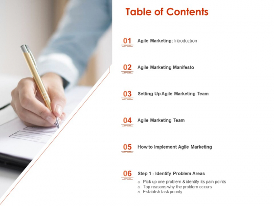Implementing Agile Marketing In Your Organization Table Of Contents Ppt Infographics Layout PDF