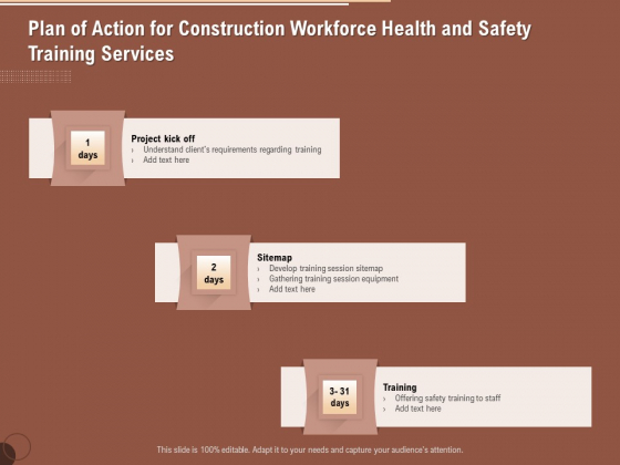 Implementing Safety Construction Plan Of Action For Construction Workforce Health And Safety Training Mockup PDF