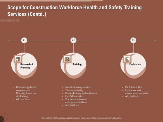 Implementing Safety Construction Scope For Construction Workforce Health And Training Services Ideas PDF