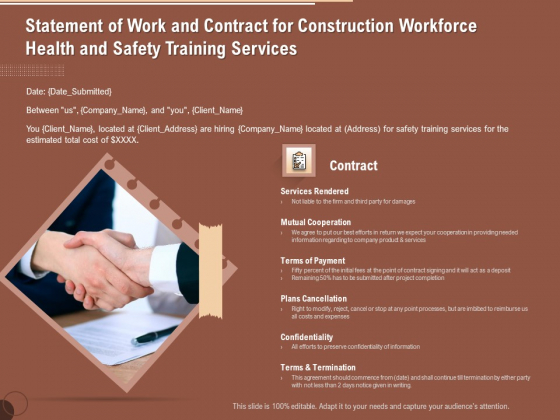 Implementing Safety Construction Statement Of Work And Contract For Construction Workforce Health And Training Information PDF