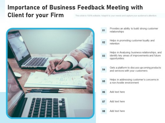 Importance Of Business Feedback Meeting With Client For Your Firm Ppt PowerPoint Presentation Gallery Example Introduction PDF