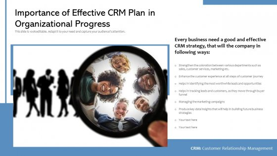 Importance Of Effective CRM Plan In Organizational Progress Ppt PowerPoint Presentation Infographic Template Gallery PDF