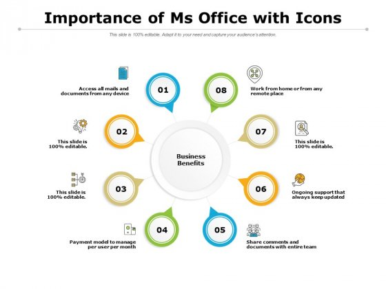 Importance Of Ms Office With Icons Ppt PowerPoint Presentation Slide