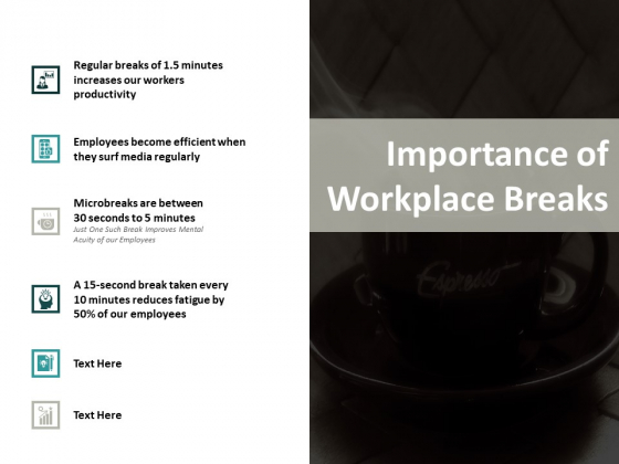 Importance Of Workplace Breaks Ppt PowerPoint Presentation Layouts Templates
