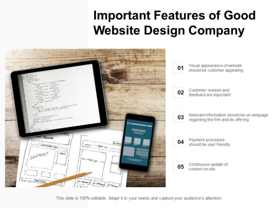 Important Features Of Good Website Design Company Ppt PowerPoint Presentation Icon Elements