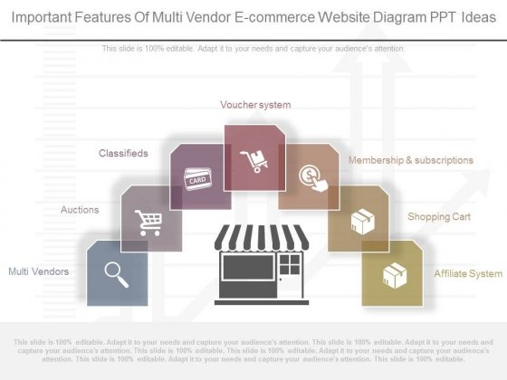 Important Features Of Multi Vendor E Commerce Website Diagram Ppt Ideas