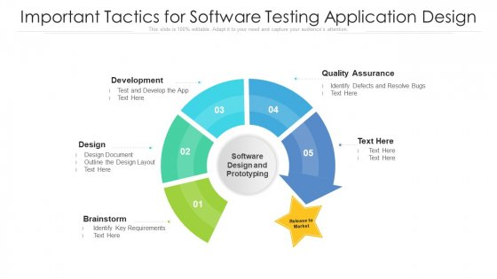 Important Tactics For Software Testing Application Design Ppt Infographic Template Icon PDF