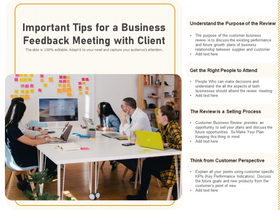 Important Tips For A Business Feedback Meeting With Client Ppt PowerPoint Presentation Gallery Deck PDF
