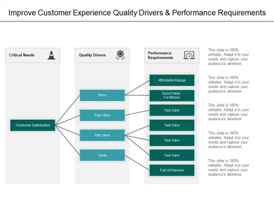 Improve Customer Experience Quality Drivers And Performance Requirements Ppt PowerPoint Presentation Model Professional