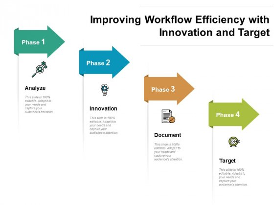 Improving Workflow Efficiency With Innovation And Target Ppt PowerPoint Presentation File Clipart PDF