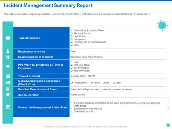 Incident Management Summary Report Ppt Infographic Template Tips PDF