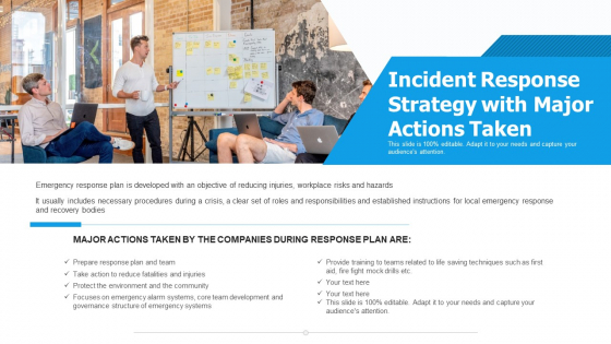 Incident Response Strategy With Major Actions Taken Ppt PowerPoint Presentation File Topics PDF
