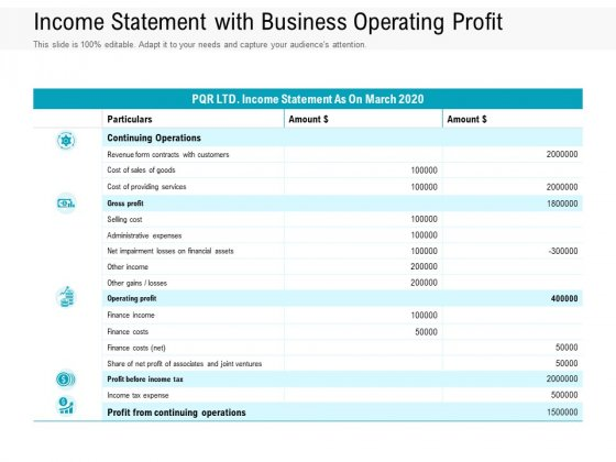 Income Statement With Business Operating Profit Ppt PowerPoint Presentation Gallery Portrait PDF