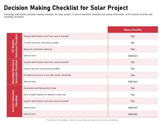 Incorporating Solar PV Commercial Building Decision Making Checklist For Solar Project Ppt Show Design Inspiration PDF
