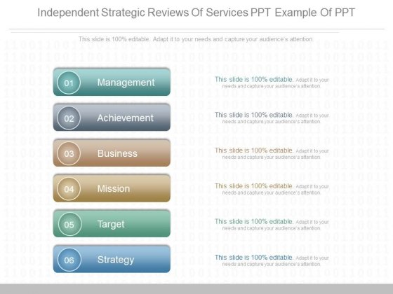 Independent Strategic Reviews Of Services Ppt Example Of Ppt