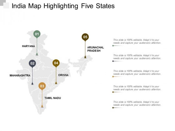 India Map Highlighting Five States Ppt Powerpoint Presentation Inspiration Gallery