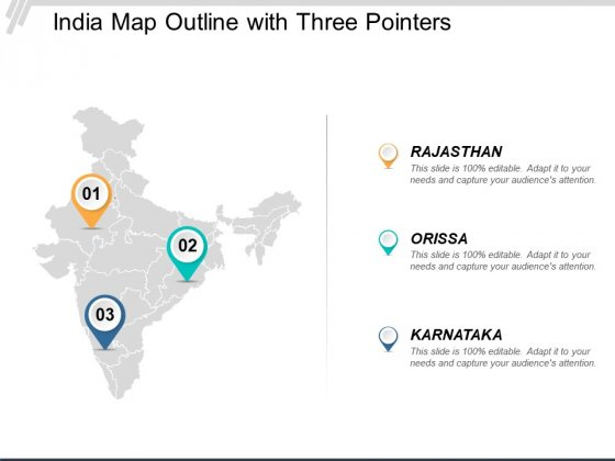 India Map Outline With Three Pointers Ppt Powerpoint Presentation Inspiration Layout