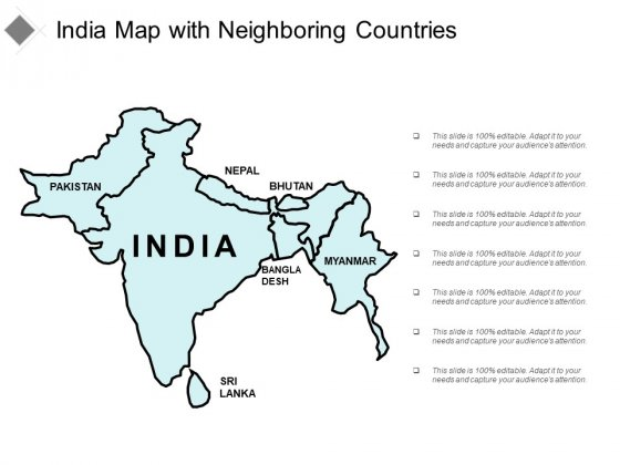 India Map With Neighbouring Countries Ppt Powerpoint Presentation Slides Graphics