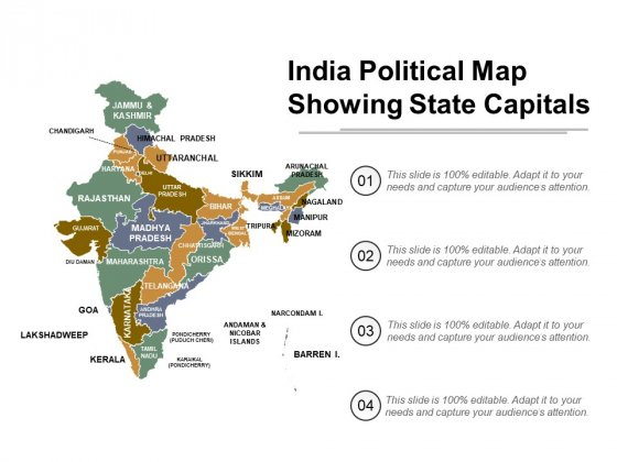 India Political Map Showing State Capitals Ppt Powerpoint Presentation Infographic Template Templates