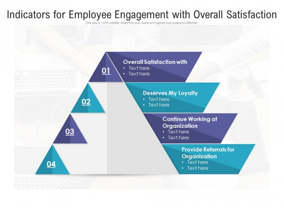 Indicators For Employee Engagement With Overall Satisfaction Ppt PowerPoint Presentation File Visuals PDF