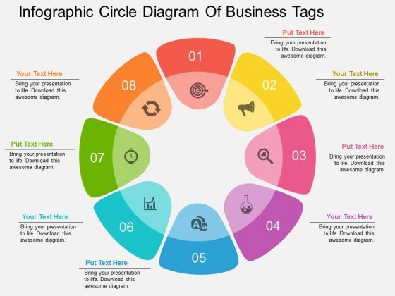 Infographic Circle Diagram Of Business Tags Powerpoint Template